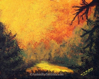 Framed Wall Art, Original Painting, original ooak, landscape art,forest and trees,hazy sky,fall decor,cabin decor,autumn painting,Item #SAO1