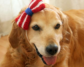 4th of July Bow for Dogs, July 4th Dog Bowtie, American Flag Bow Tie for Dogs, fourth of July Dog Bow / Bowtie, July 4 Large Dog Accessory