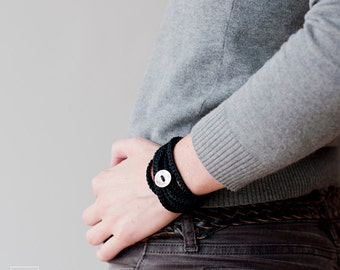 Wrap Crochet Bracelet and Necklace in one piece. Black . Simple, beautiful and lightweight . Friendship Bracelet