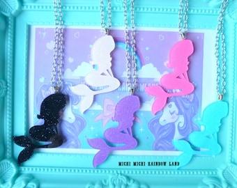 Little Mermaid Acrylic Glitter Necklace