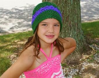 Childs Beanie, Green girls hat, crochet childs cloche, Crochet Cloche Hat, Green Crochet Hat, Crochet Purple Cloche, Girls Spring Hat