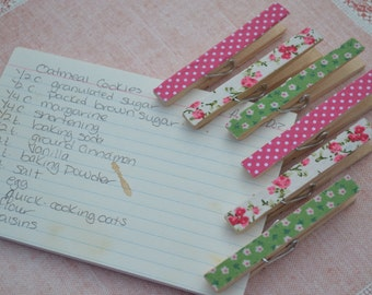 Shabby Chic Decorated Clothes Pins | 6 Pieces