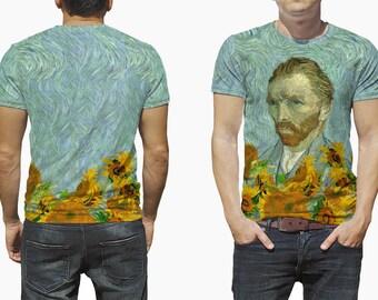 Van Gogh Shirt Van Gogh Print Sunflowers Print Van Gogh Painting Art Shirt Street Wear Artist Gift Vincent Van Gogh Self-portrait TU1139