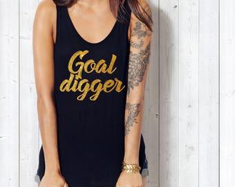 Goal Digger Tank Top Gold Glitter Font Entrepreneur Gift Motivational Gift Goal Digger Gift for Grad Women's Tank Tops Black and Gold Digger