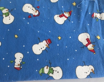Blue Flannel Fabric with Snowmen