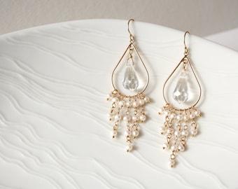 Crystal Wedding Earrings, Bridal Earrings, Pearl Earrings