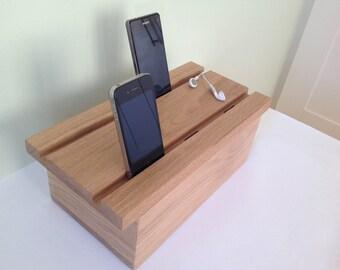 Solid oak multiple docking station for iPhone, iPad dock, iPhone dock, desk organiser, USB port docking station, multi charger, wooden dock