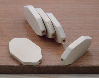 10 Hexagonal Wood Beads,facted beads.flat Natural Wood hexagon.