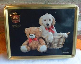 Stewart's Cookie Tin - Fury Friends, Lab & Teddy Bear, Scottish Shortbread Cookies - Vintage - Fabulous!