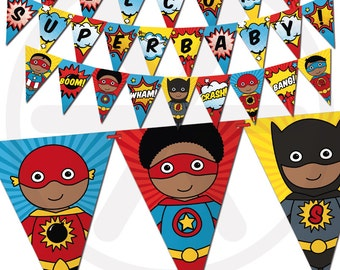 African American Superhero Baby Shower Banner - Comic Book Theme Bunting Banner. Printable Baby Pennant Garland. Superheroes Decorations