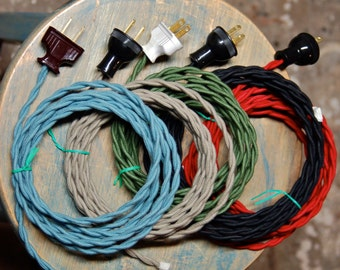 Custom Length Cord w/ Plug Attached, 26 Color Options, Twisted Wire Cordset, Vintage Re-Wire Kit, Lamp Electrical Cord