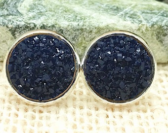 Navy Blue Druzy Earrings - Drusy - Bridesmaid Gift - Stud Earrings - Wedding Jewelry - Navy - Nautical Jewelry - Faux Druzy Earrings -