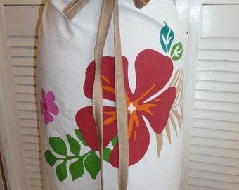 Handmade Skirt,Tropical Skirt, Soft Skirt, Unique Clothing, Recycled Pillowcase, Recycled Fabrics,Drawstring Waist,Large Flowers,Hippie Boho