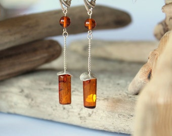 Cognac Amber Earrings, Dangle Earrings, Earrings, Amber Jewelry, Drop Earrings, Natural Baltic Amber, Long Earrings, Amber Earrings, Amber
