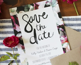 Save the Date: Rustic Watercolor Floral with purples, cream, greens