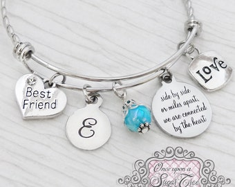Personalized Long Distance Gift-side by side or miles apart we are connected by the heart Bracelet, Friendship- Birthday Gift-Relationship