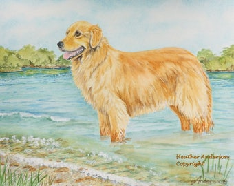 "Golden Retriever  Art Print  ""Golden Lake""  image size 8""x10"" Heather Anderson animal artist, free shipping"