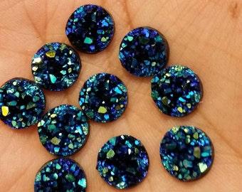 Ocean blue 10mm chunky faux druzy Cabochons 10pcs - C6:8