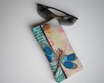 Glasses case, Sunglasses sleeve, Soft eyeglasses case, Case for sunglasses, Quilted eyeglass case, glasses sleeve, dragon fly sleeve