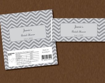 DIY Editable - Candy Bar WRAPPERS - Instant Download - gray Chevron Printable Personalized Bridal Baby Shower Birthday Party Favors