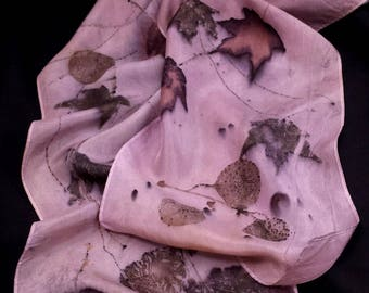 """Lovely Lavender Silk Scarf, Maples& pine Ecoprinted on Silk by Artist,Sustainable, Unique Slow Fashion art, 8"""" x 72"""" 126A Free USA ship"""