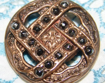 Beautiful Large Antique Victorian Brass Button ~ Pierced Open Work ~ Ornate Cut Steels ~ Rolled Rim ~