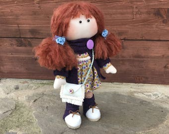 Red haired handmade doll (35cm) with handmade clothes