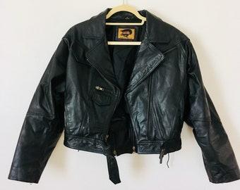 Cropped Motorcycle Leather Jacket Size Medium Fox Run Leather Jacket