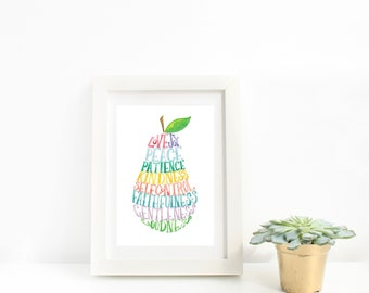 Fruit of the Spirit - WATERCOLOR PRINT nursery decor, wall art, watercolor art print, scripture art, Bible verse, colorful art, Christian
