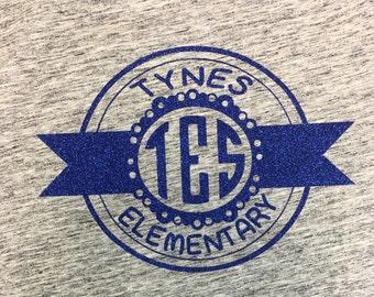 Tynes Elementary Label Glitter Tee or hoodie