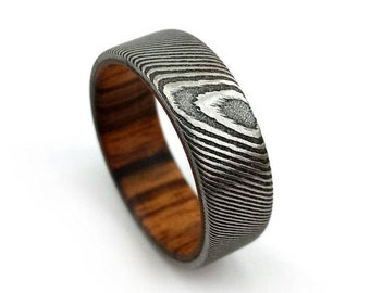 Damascus Steel Ring, Tigerwood Ring, Stainless Steel Ring, Mens Wedding Band, Womens Band, Wood Grained Ring, Damascus Jewelry, Modern Style
