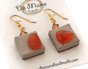 Carnelian square  earrings, concrete earrings, cement earrings, orange earrings, simple earrings, everyday earrings, orange dangle earrings