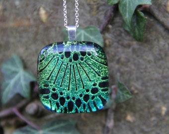 Green dichroic glass  pendant, dichroic glass necklace,  dichroic pendant, green dichroic, flower pendant, blue green dichroic glass pendant