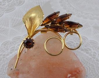 Vintage Amber Rhinestone and Gold Leaf Brooch  5418