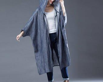 Loose linen hoodies bat wing sleeve linen tunic dress spring linen coat jacket long dress coat oversize cotton blouse plus size clothing