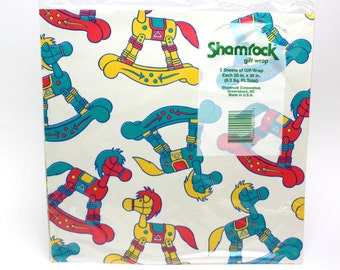 "Vintage Rocking Horse Wrap Paper by Shamrock - Set of 2 sheets (20"" x 30"" each) - All Occasion Retro Toys Kid Baby Children Birthday Party"