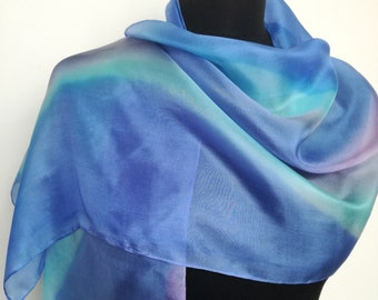 Blue and purple handpainted Silkscarf, Mother's Day gift, gift for You, 40x150 cm