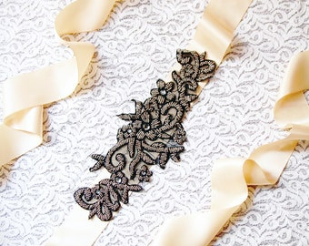 Wedding Sash Belt Bridal Sash Belt Black Sash Belt - Black Gold Beaded Sash Belt - Wedding Dress Sashes Belts - Champagne Ribbon Belt