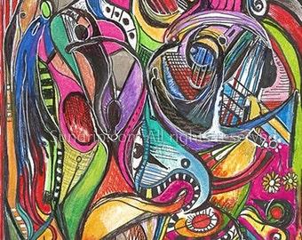 Dinosaur Opera Chaos in Color Acrylic and I Original Art