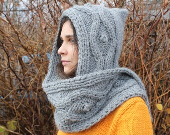 Hooded scarf, gray scarf, gray hood. wool chunky scarf, scoodie, hood scarf, Chunky Scoodie, knit scarf, knit hooded scarf, winter scarf. 90