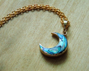 Abalone crescent moon necklace Moon pendant Abalone shell necklace