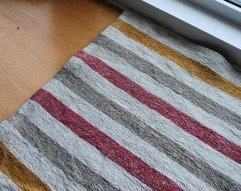 Rustic Linen Table Runner Table Linens Striped Red Gold Brown Beige Prewashed Heavy Linen