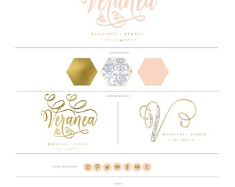 pretty logo design - watercolor logo - calligraphy logo - blush pink logo - watercolor logo - handwritten logo - freshmint paperie