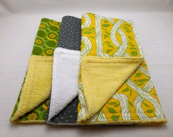 Baby Burpies {Burp Cloths} Set of 3 - Graphic Green and Yellow Set