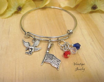 Patriotic Bracelet, Patriotic Jewelry, Bald Eagle Bracelet, USA Flag Bracelet, United States Jewelry, American Flag, American Eagle
