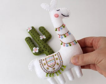 Llama Sewing Pattern, Felt Cactus Hand Sewing Pattern, Hand Embroidery Pattern, Alpaca