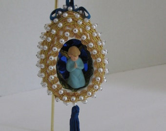 Vintage Beaded Christmas Tree Ornament With Angel, Seasonal