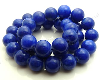 10mm Denim Blue Mashan Jade Round Gemstone Beads - 16 Inch Strand - BE1