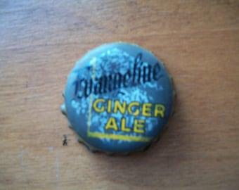 Cork lined EVANGELINE Ginger Ale Bottle Cap, vintage, used,