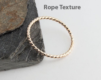 Rope Textured Tiny Gold Ring, Hammered Ring, Gold Ring, Band Ring, Staking Gold Ring, Dainty Stacking Ring, Stackable Ring, Dainty Ring